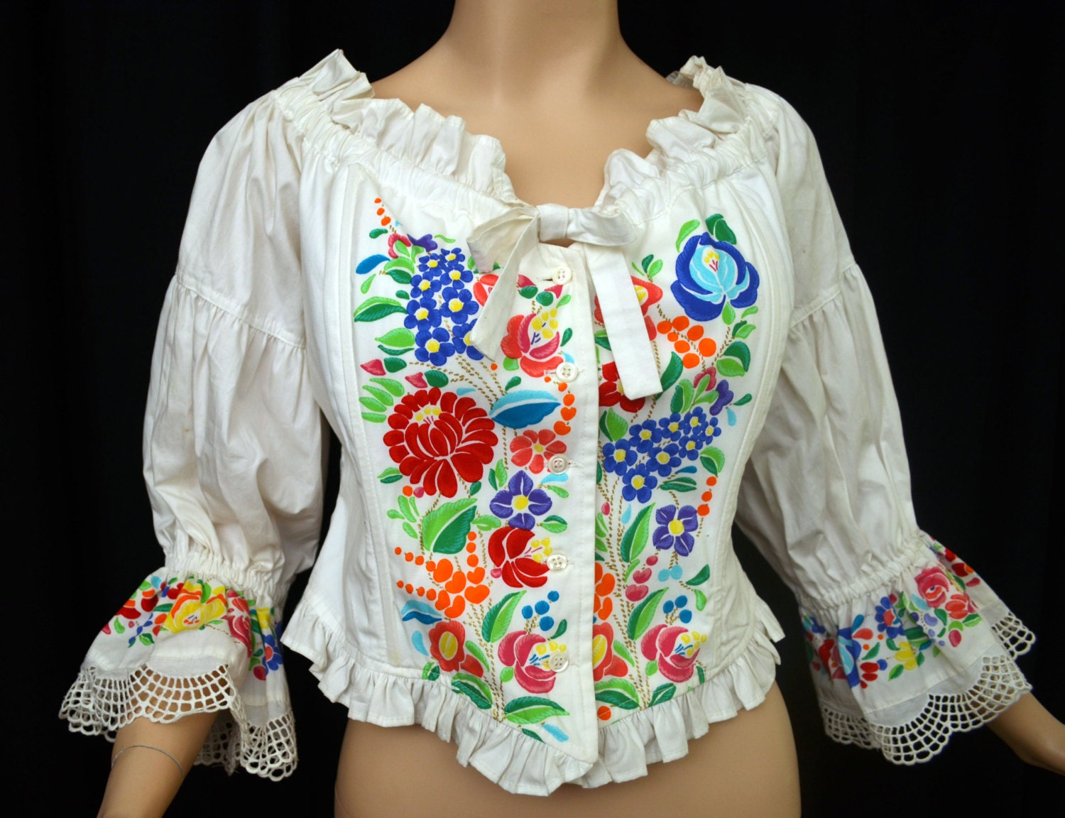 Vintage GOTTEX Hand Painted Top // Bohemian Peasant Blouse // Victorian Inspired Boned Bodice - VintageDevotion