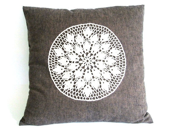 Vintage throw pillow 17X17 Brown decorative throw by PersaBags