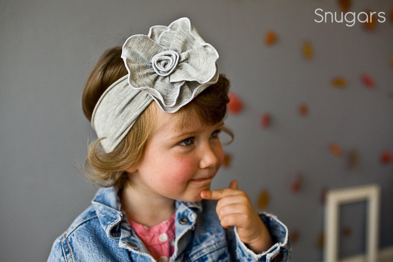 Хизер серый Роза Stretch SNUGARS оголовье волосы группа девочек малыш ребенок ребенок серый