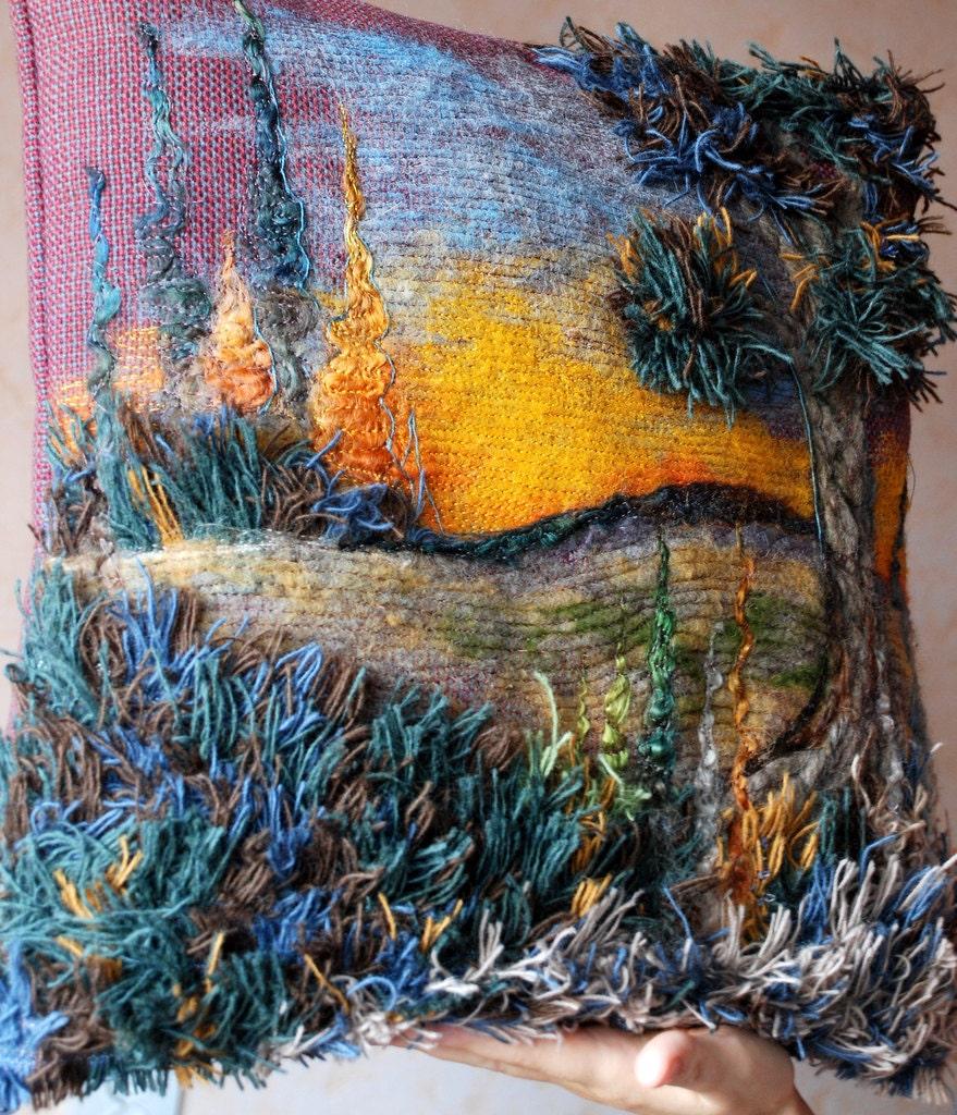 Уникальная крышка подушки (желтый закат - игла войлочных искусства) 16