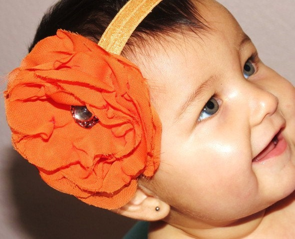 Orange Flower Headband, Orange Chiffon Flower Headband, Vintage Flower Headband - RoseyRain