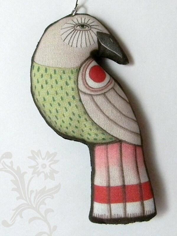 Christmas Bird Ornament--  Original Folk Art Doll-- Printed, Sewn, and Stuffed Fabric - cartbeforethehorse