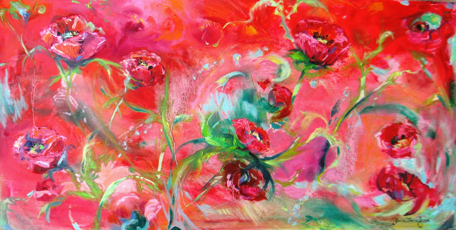 Large custom canvas Contemporary modern flower poppy abstract Original Oil landscape floral Painting  floral fine art 15 x 30 - JaniceTraneJones