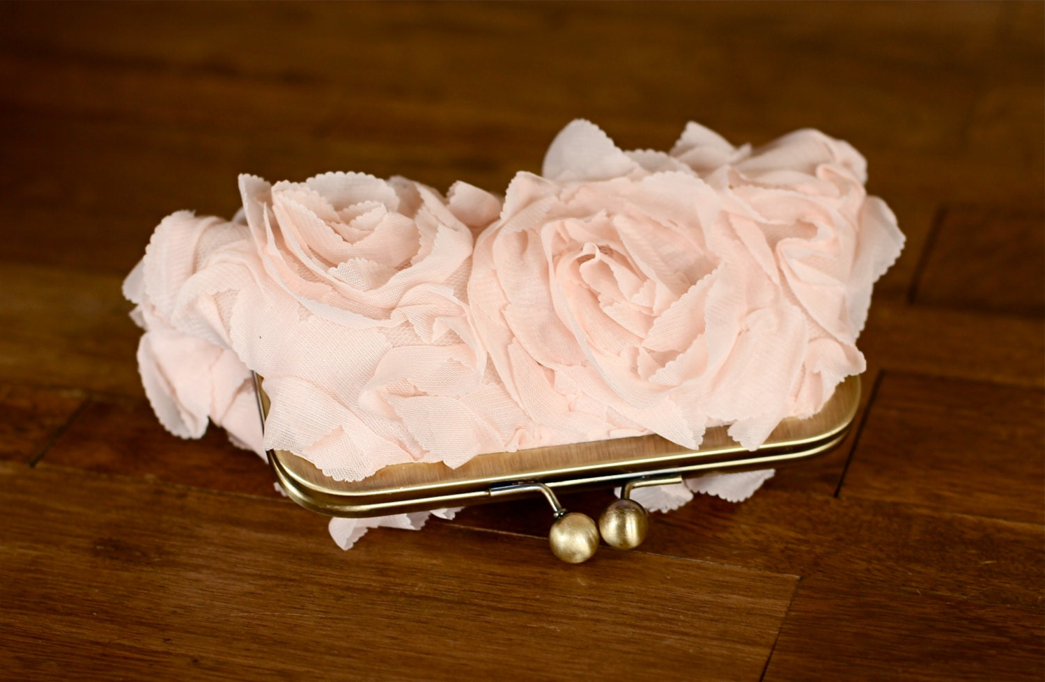 3D Rosette Nude/Peach Clutch with Antique Brass Frame