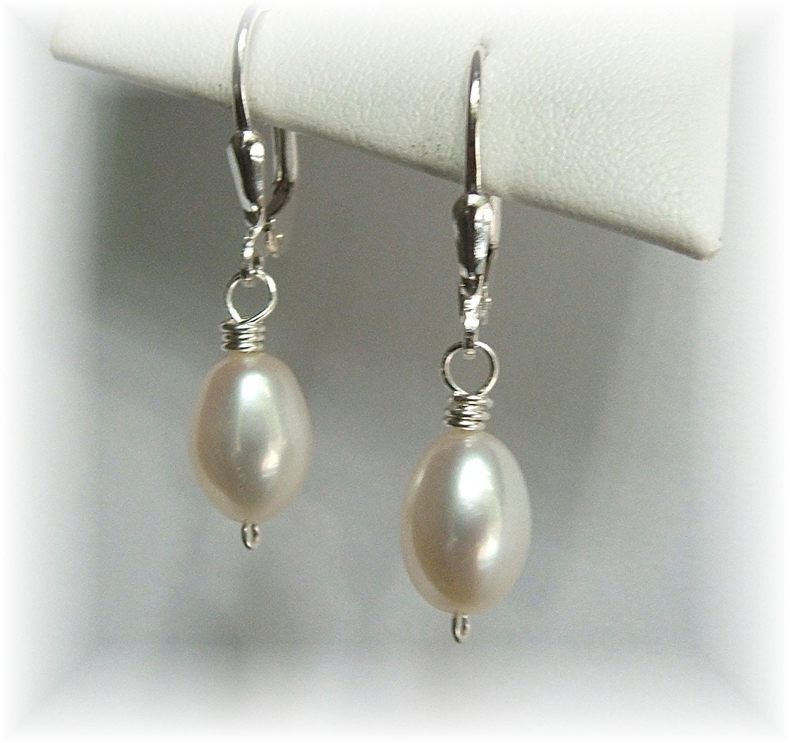 Large White Freshwater Pearl Earrings Natural Pearl by Handwired from etsy.com