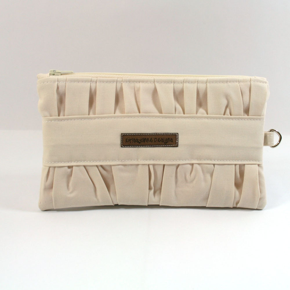 Gathered Clutch - Ivory and Pink - Made to Order