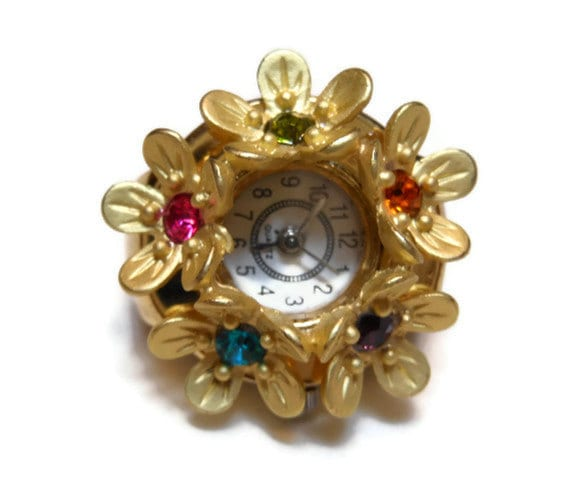 Vintage pretty watch ring rhinestone flowers gold tone running - maggiescornerstore