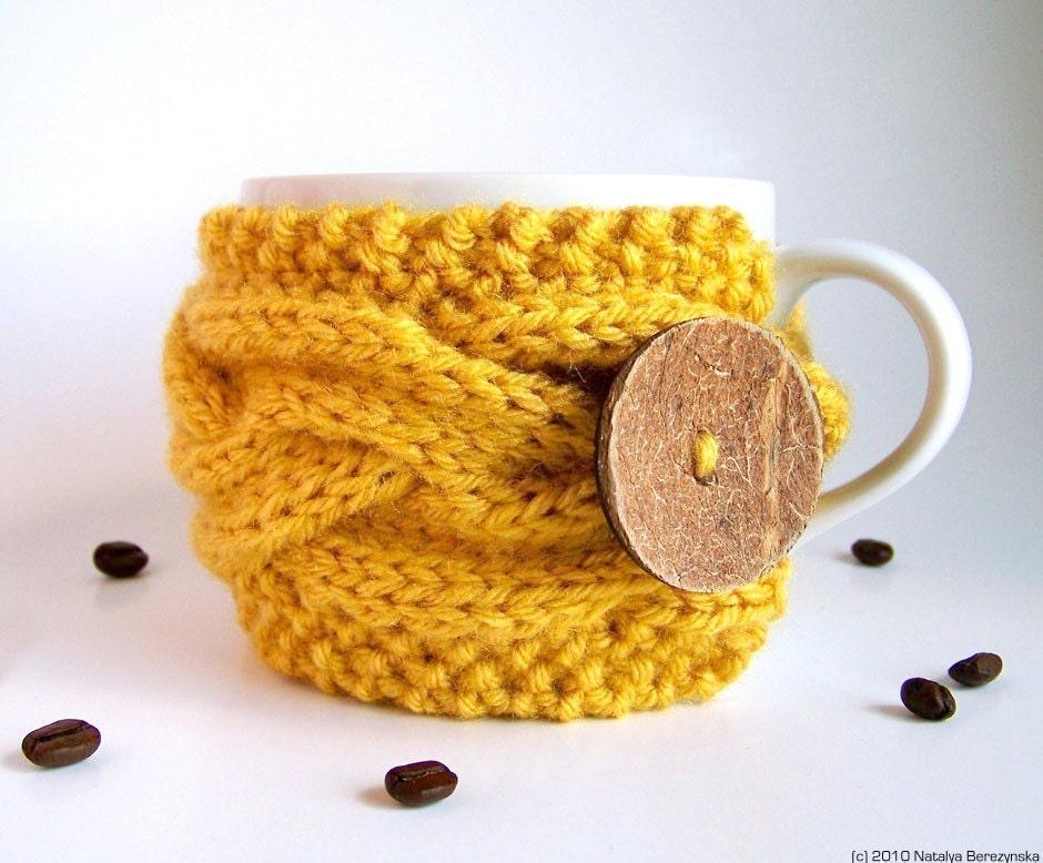 Honey Yellow Cup Cozy, Mustard Mug Cozy, Coffee Cozy Sleeve - Bee Yolk Lemon Saffron Banana Citrine - natalya1905