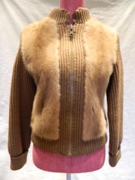 Sz M Dupler fur zip up jacket high collar sweater coat