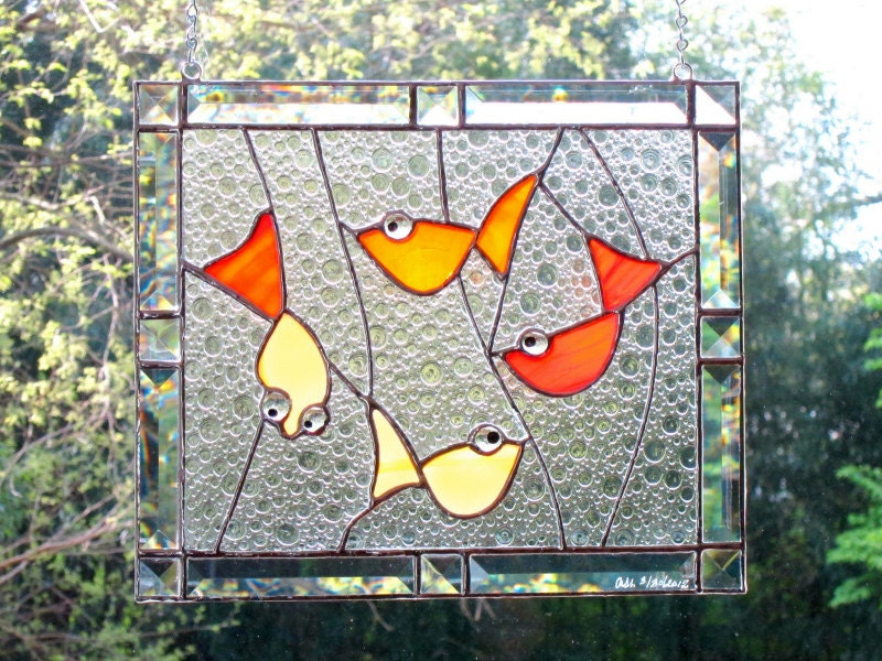 Goldfish Stained Glass Window Panel Red Orange Bevels Lucky Carp Handmade OOAK