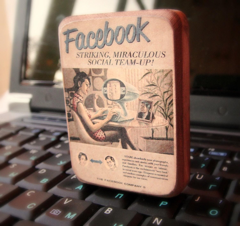 Facebook магнит - винтажный стиль, подарок для друга