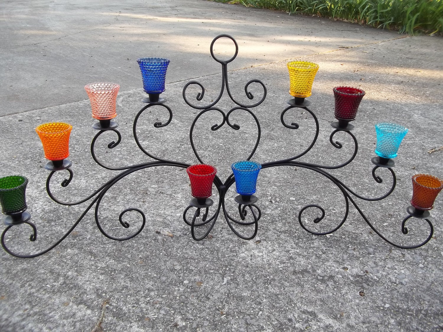 "Vintage Large Candle Holder Centerpiece with 10 Colorful Glass Votive Cups 41"" by 20"""