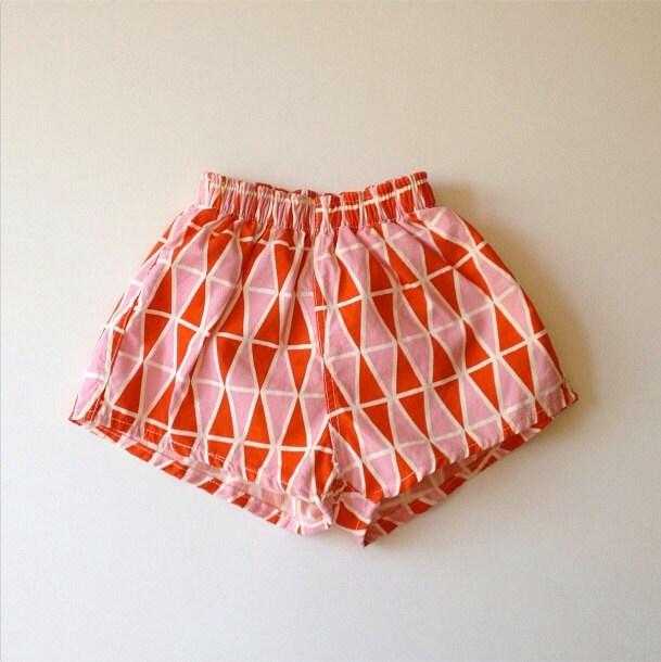 1950's Geo Swim Trunks/Shorts, Pink & Orange - Size 2-3x (toddler) - familythreadla