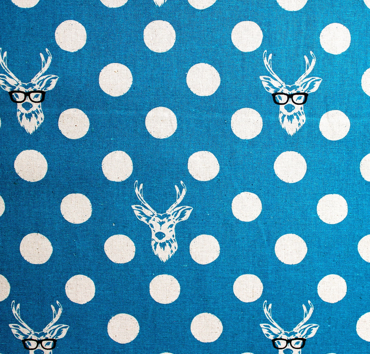 Japanese Fabric Kokka Echino Decoro Buck - blue - fat quarter