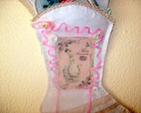 Romantic Marie Antoinette Victorian Boot Shoe Wall Pocket Textile Collage Paris Chic