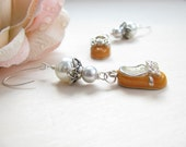 Cinderella Earrings - Faux Pearls -  Charms - Handmade Silver Earwires