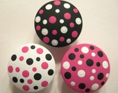 Set of 8 Hot Pink, Black and White  - Polka Dots - Hand Painted Knobs - dreamscapedesigns