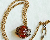 Reversible Vintage Glass Filigree Necklace
