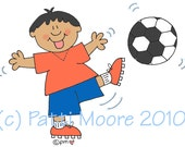 Digi Stamp - Soccer Boy - Digital Stamp - EtsyKids Team