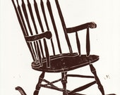 Rocking chair linocut print