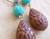 Cacao Drops Earrings. Turquoise Glass and Brown Carved Bead.