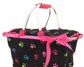 Dog Paws Animal Collapsible Market or Shopping Tote Basket Toy Box or Shower Gift Basket  Monogrammed or Personalized CUTE