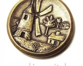 vintage antiqued brass windmill coins x 6