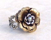 Cocktail Ring Winter Fairy Rose -Flower Mixed Metal Silver Brass Adjustable Filigree Vintage Style