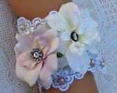 Wrist Cuff - Lacey and Feminine Silk Flowers and Pearls Bridal Wrist Cuff - Size 7.0 (RC155)