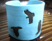Turquoise cuff bracelet , black crow, bird design, handmade jewelry by theshagbag on Etsy
