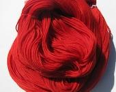 Red, Scarlet Red Handmade Crochet & Knitting Yarn- Merino Wool Superwash Sock