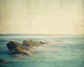 SALE - Ocean Photo, Landscape Photography, Nature, Minimal Seascape, Zen, Serene, Aquamarine - Be here now - EyePoetryPhotography