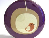 Pocket Mirror - Party Favor, Bridesmaid Gift or Stocking Stuffer - Modern Birdhouse Purple Mirror With Pouch - Buy 3 Get The 4th FREE