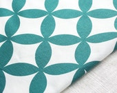 Hand printed fabric Treasure in Teal
