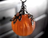 Gothic Orange Pumpkin Necklace with Long Black Chain
