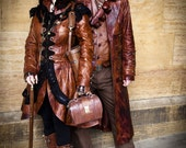 Steampunk Victorian Burlesque Costume Bespoke Leather Dress Coat Impero London
