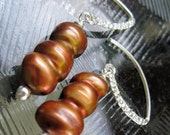 Pearl Earrings Autumn Copper Sterling Silver
