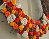 Felt Rosette Fall Wreath - 18 INCH - Custom Made to Order