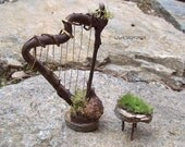 FAIRY HARP Dollhouse Miniature Furniture Fae Woodland Garden Fairie Wedding Cake Topper