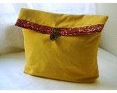 gold bag purse Mustard Linen Blend Handmade Pouch Clutch Flat Bottom Padded Kindle Make Up Travel Gadget Bag tagt team