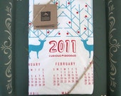 Clearance Holiday  Screen Printed Deer Organic Calendar Tea Towel  Free Shipping