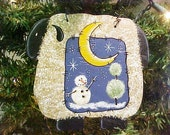 Sheep Christmas Tree Ornament With Handpainted Snowman Scene