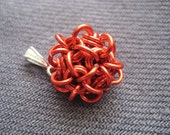 Tiny Chainmaille Ball Pendant - Porcupine in Red