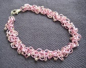 Chainmaille Shaggy Loops Bracelet -  Pink Berries