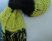 Lemon Grass with Black Hand Knit Scarf