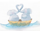 Elephants on the Sea of Love Card