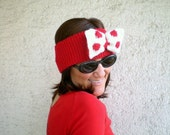 Knit Red Earwarmer with Big Polkadot Bow Red Hairband - bysweetmom