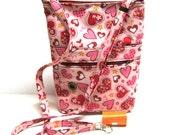 dog walking bag pink  hearts