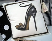 Artistic Pillow Cover Cream Black Stiletto Handpainted Made in Canada