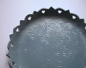 French Blue Victorian Vintage Cookie Plate with Cutouts